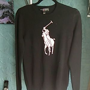 Women's black and pink Ralph Lauren sweater size l